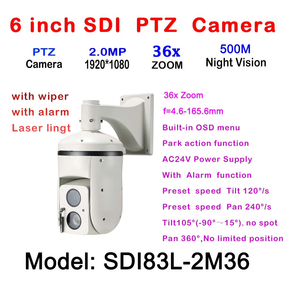 1080P HD-SDI IR High Speed Dome PTZ Camera 2MP 36X Optical Zoom 4.6~165.6mm Focus IR Laser 500m Outdoor Waterproof IP66 AC24V 4 in 1 ir high speed dome camera ahd tvi cvi cvbs 1080p output ir night vision 150m ptz dome camera with wiper