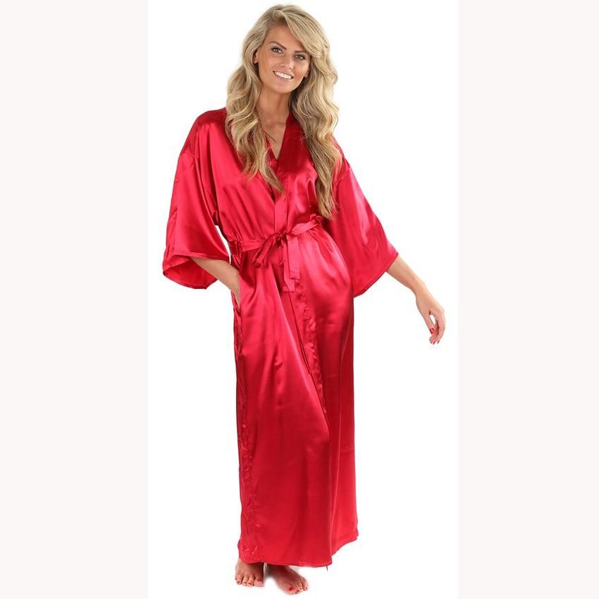 New Solid Lengthen Kimono Long Robe Satin Dressing Gown Silk Wedding Bride Bridesmaid Robe Women Bathrobe Nightgown One Size