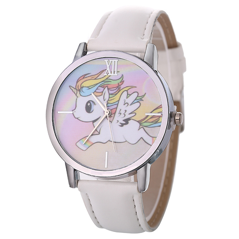 Women Girls Kids Cartoon Unicorn Watches Ladies Vogue Lovely Cute Animal Dial Clock Leather Band Analog Alloy Quartz Wrist Watch