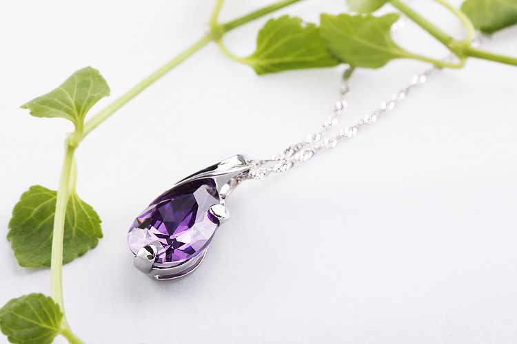 Ultime di Nuovo Modo Viola di Cristallo DELLA CZ con 925 Sterling Silver Pendente di Goccia Dell'acqua Della Collana Bella Donna Dei Monili di Modo