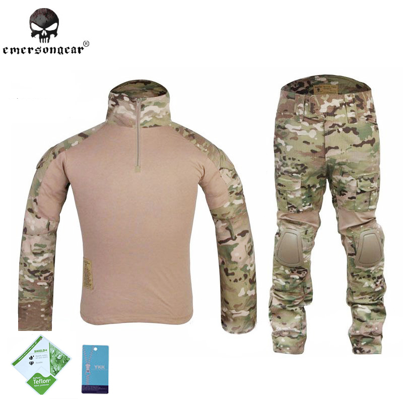 Emerson Multicam Gen2 Tactical Combat BDU Shirt Pants Pads Airsoft Uniform Military Camouflage Hunting Ghillie Suit