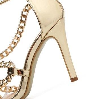 DEleventh Hot Sale European Women Summer Shoes Zipper Rust Belt High Heels Sandals Sexy Womens Shoes For Party 2018 New Gold US5