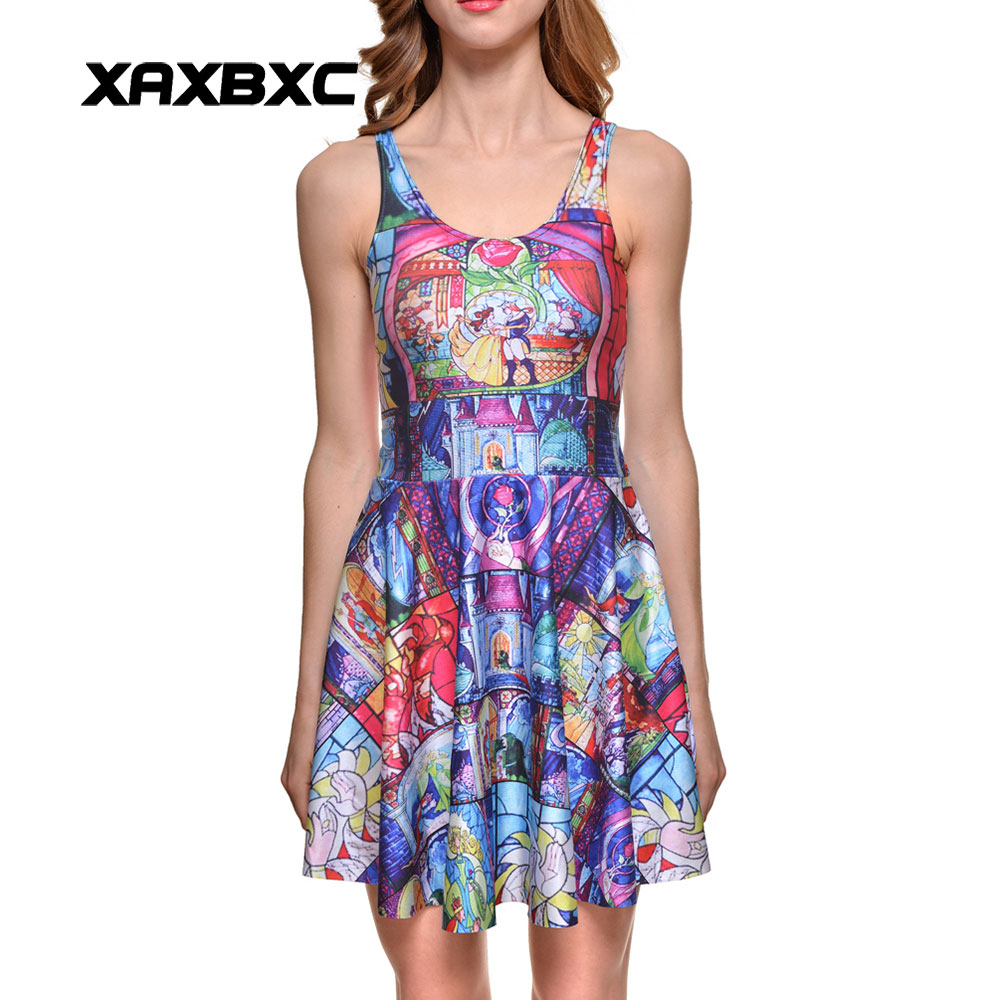 b7bbbd46dd531 XAXBXC NEW 1051 Summer Sexy Girl Dress Beauty and the Beast Rose Prints  Reversible Vest Skater Women Pleated Dress Plus size