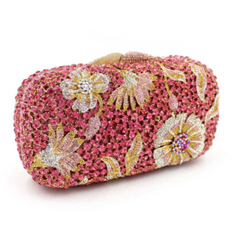 יוקרה גבישי ערב מצמד שקיות ורוד נשים ציפורני תיקי צד אופנה Minaudiere פרח גבירותיי ערב תיקי ציפורני