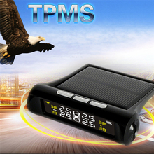 Auto TPMS Solar Energy Tire Pressure Monitoring System Car Tyre Temperature Alarm With 4 External Sensors LED Anti-Thef