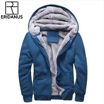 Hoodies Men 2018 Winter Jacket Fashion Thick Men's Hooded Sweatshirt Male Warm Fur Liner Sportswear Tracksuits Mens Coat X786