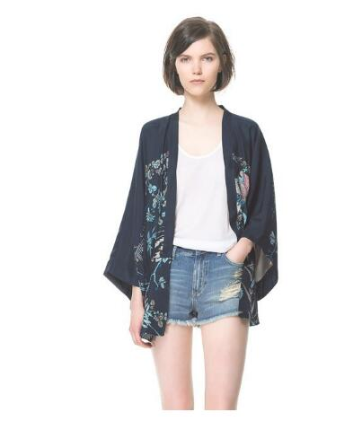 30pcs/lot fedex fast japanese style female half print kimono lady casual chiffon cardigan floral chiffon summer blouse