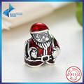 Hot Sell 100% 100% Real 925 Sterling Silver Santa Claus Nick, Red Enamel Charm Fit Pandora Bracelet Necklace Jewelry Making