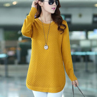 Medium long women sweater autumn 2019 new winter pullover casual female sweater student yellow pink black red blue