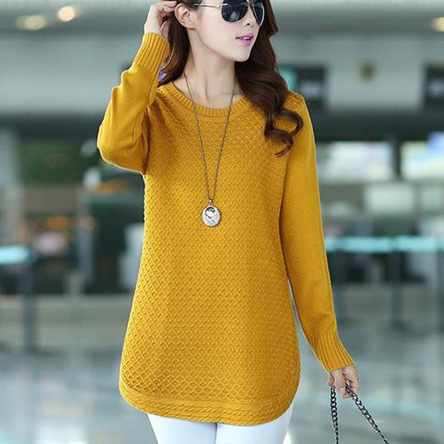 Medium-long women sweater autumn 2019 new winter pullover casual female  sweater student yellow pink black red blue 201550291