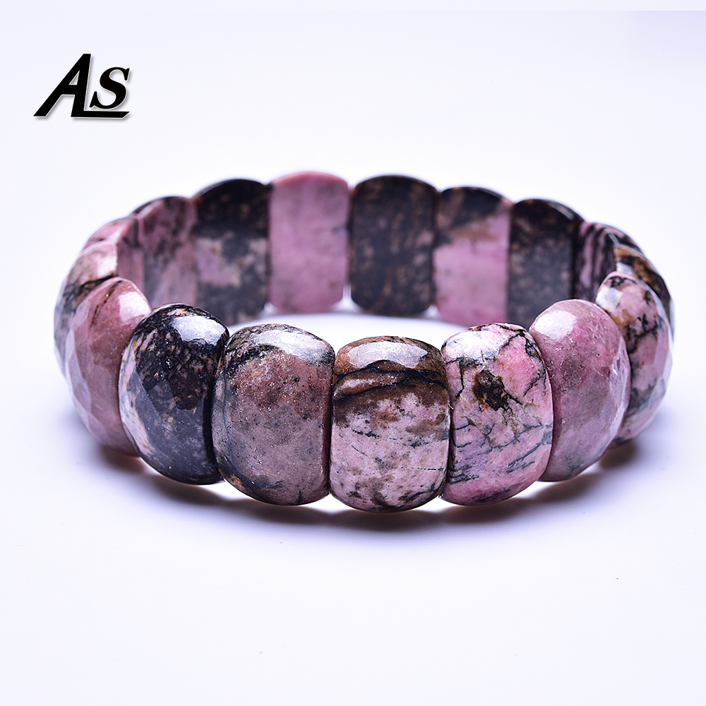 Asingeloo Natural Black Rhodonite Stone Beads Handmade Elastic Bangle Bracelets For Women And Men Jewelry 2019 New
