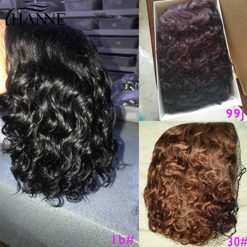 Hanne curto encaracolado bob remy perucas cabelo humano brasileiro l parte perucas de cabelo humano perruque cheveux humain onda perucas 1b #/30 #/99j cor