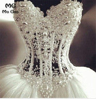 Luxurious Bling Strapless Ball Wedding dresses Corset Bodice Sheer Bridal Crystal Pearl Rhinestones Tulle Wedding Gowns