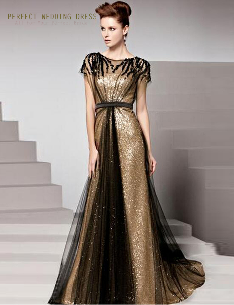 Gold Evening Dresses Sleeves