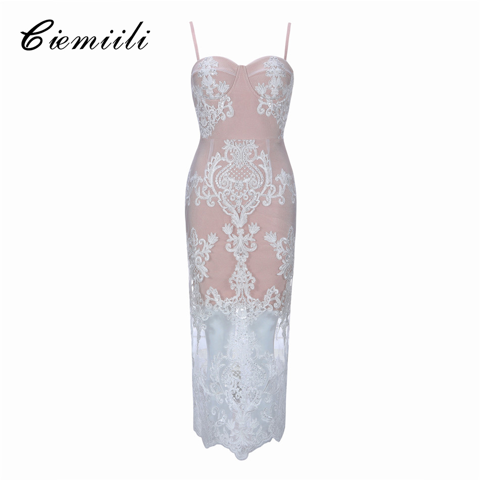 CIEMIILI Summer Sexy Lace Dress 2018 Fahion Evening Party Bandage Dresses Elegant Vestidos White Summer Spaghetti Strap Clothes