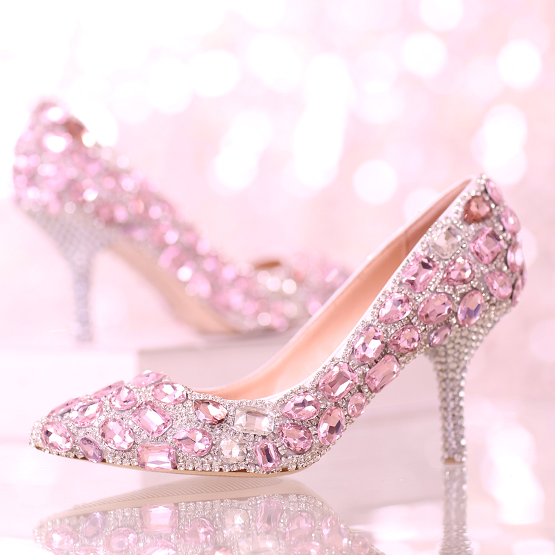 Pink crystal wedding shoes the bridesmaid shoes high-heeled pointed toe shoes rhinestone princess single pumps woman