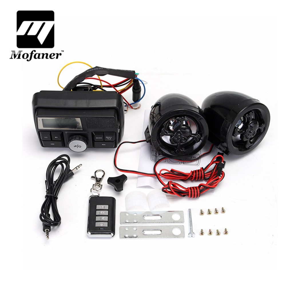 Waterproof  Motorcycle Scooter Alarm Anti-Theft Device Motorbike MP3 Player Handlebar Radio Stereo 2X Speaker Anti-theft Alarms