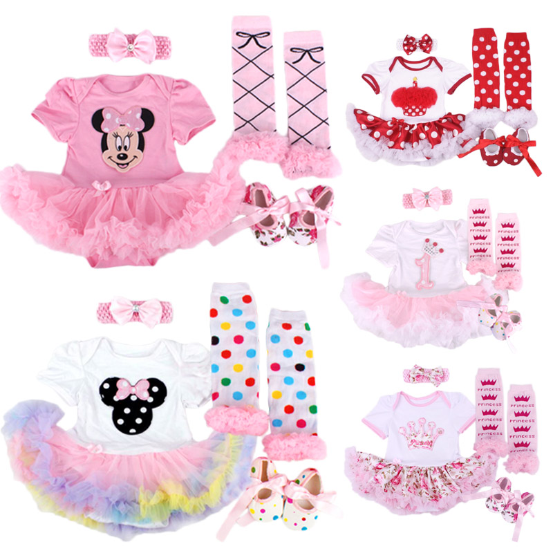 0-1 Yrs Baby Girl Clothing Sets Infant Vestidos Bebe Christmas Gift Costumes Romper Dress+Stockings+Shoes+Headband 4pcs Set