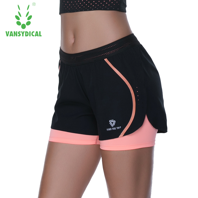 Vansydical Fake Two Spandax Yoga Shorts Women Fitness Workout Running Shorts Women Quick Dry Gym Leggings Sport Shorts For Women