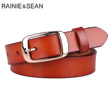RAINIE SEAN Womens Trouser Belts Classic Simple Genuine Leather Pin Buckle High Quality Fashion Ladies Jeans Starp