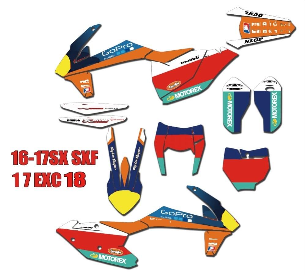 Motorcycle Custom Graphics Stickers Background Decals For KTM 2017 - 2018 EXC EXCF 250/350/300/450/500 SX SXF XC XCF 2016 - 2018Motorcycle Custom Graphics Stickers Background Decals For KTM 2017 - 2018 EXC EXCF 250/350/300/450/500 SX SXF XC XCF 2016 - 2018