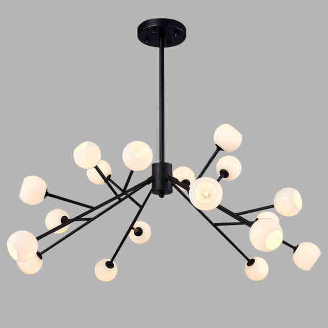 New Black Frame White Glass Modern Led Pendant Lights For Living Room Dining Hanging