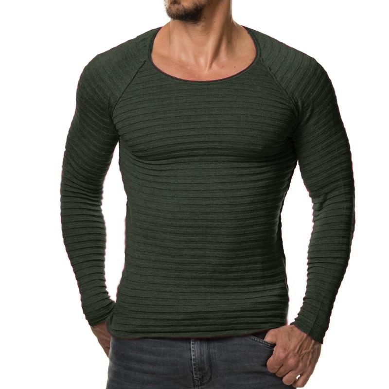Новинка 2017 года Для мужчин вязаный свитер осень-зима модная брендовая одежда Для мужчин в полоску Свитеры для женщин сплошной Цвет Slim Fit Для мужчин пуловер