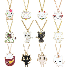 Fashion Cute Kawaii Animal Cat Necklace Color Cartoon Pet Pendant Female Metal Male and Student Jewelry