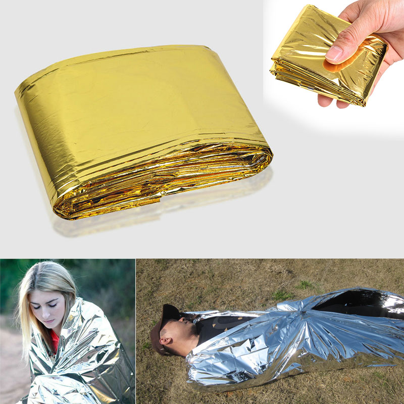 Etmakit 160 x 210cm Emergency Foil Mylar Blanket Rescue Thermal Aids Retain Body Heat for Camping NK-Shopping