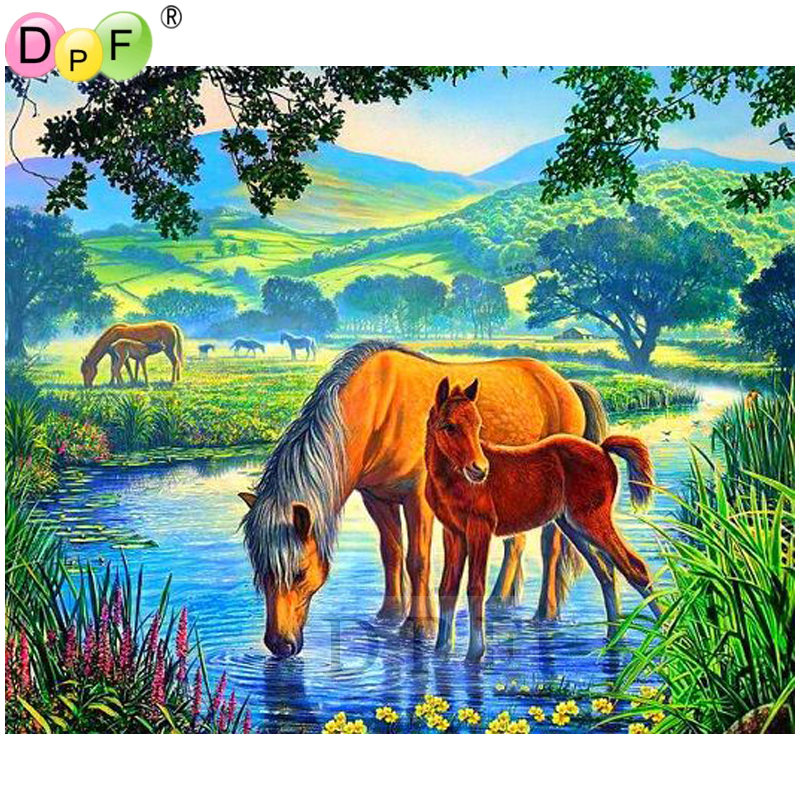DPF Diamond Embroidery horse wall Diamond Painting Cross Stitch rhinestone resin pasted Mosaic Full Square home decor crafts