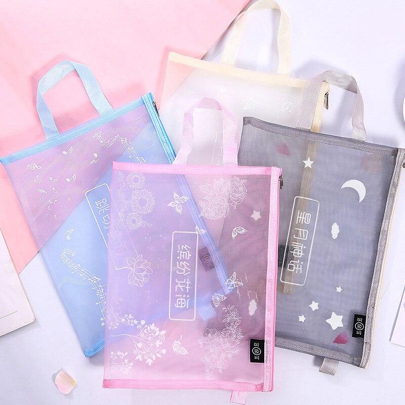 Fashion Simple A4 File Bag Grid Transparent Portable Zipper Bag School Office File Organizer Documents Filling Bag Storage Bag