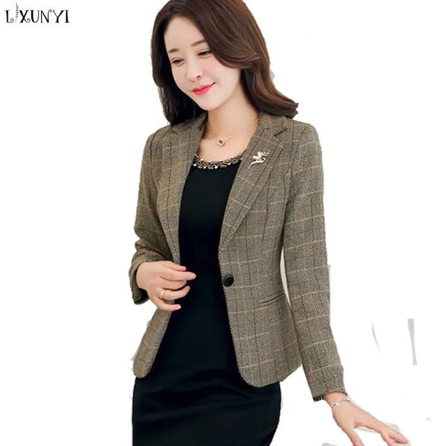 Lxunyi Spring New Short Office Coat Ladies Plaid Blazers Long Sleeve
