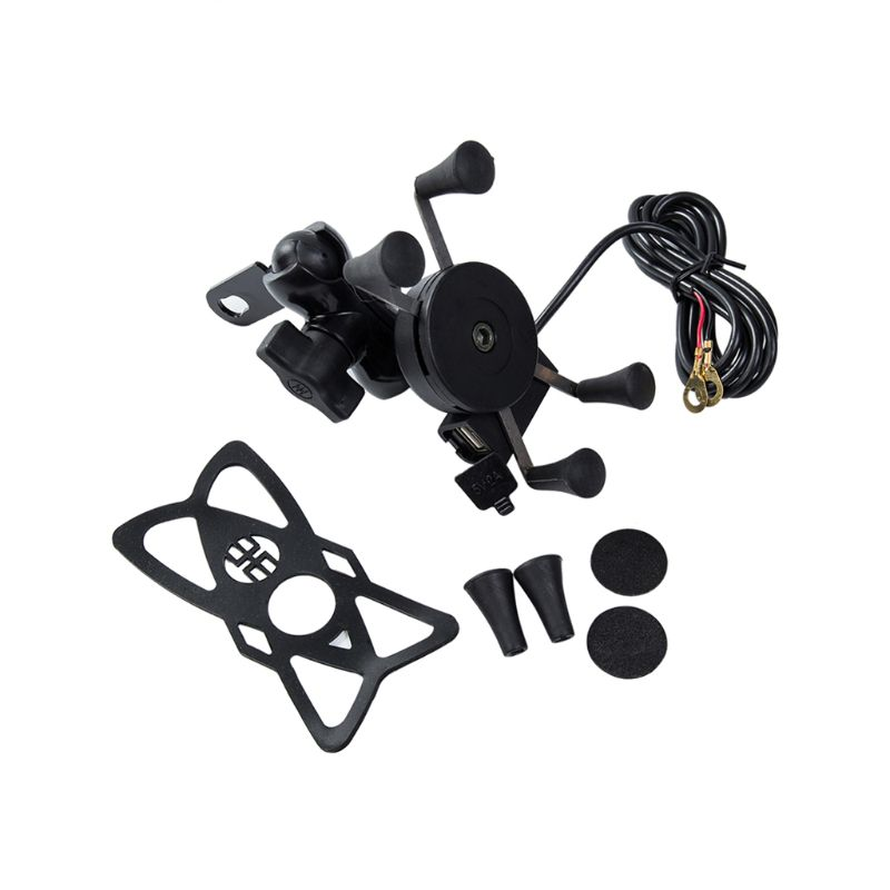 Bike Grip Motorcycle Car Mount Cellphone Holder USB Charger For Mobile Phone