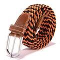 Unisex Lienzo Tejido de Cuero Pin Hebilla de Cinturón de Cintura Elástica Mujeres de Los Hombres de La Pretina