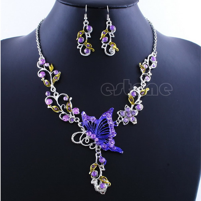 JAVRICK 1 Set Party Wedding Gift Rhinestone Necklace Earrings Butterfly Jewelry Flower Set  Necklace 1 pc + Earrings 1 Pair New