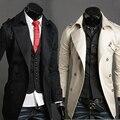 2015 otoño nueva moda cómoda capa de polvo del párrafo crece en otoño e invierno con hombres dobles solapas capa