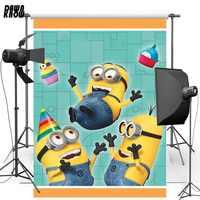 DAWNKNOW décors en vinyle jaune pour bébé dessin animé Minions fond de photographie en Polyester pour enfants Studio de Photo G468