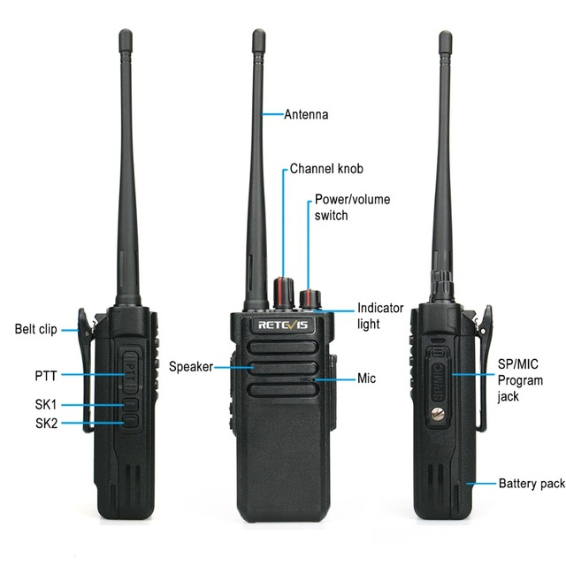 IP67 Waterproof Walkie Talkie RETEVIS RT29 10W UHF (or VHF) VOX Long Range Two-way Radio Station for Factory Farm Warehouse 3KM 3