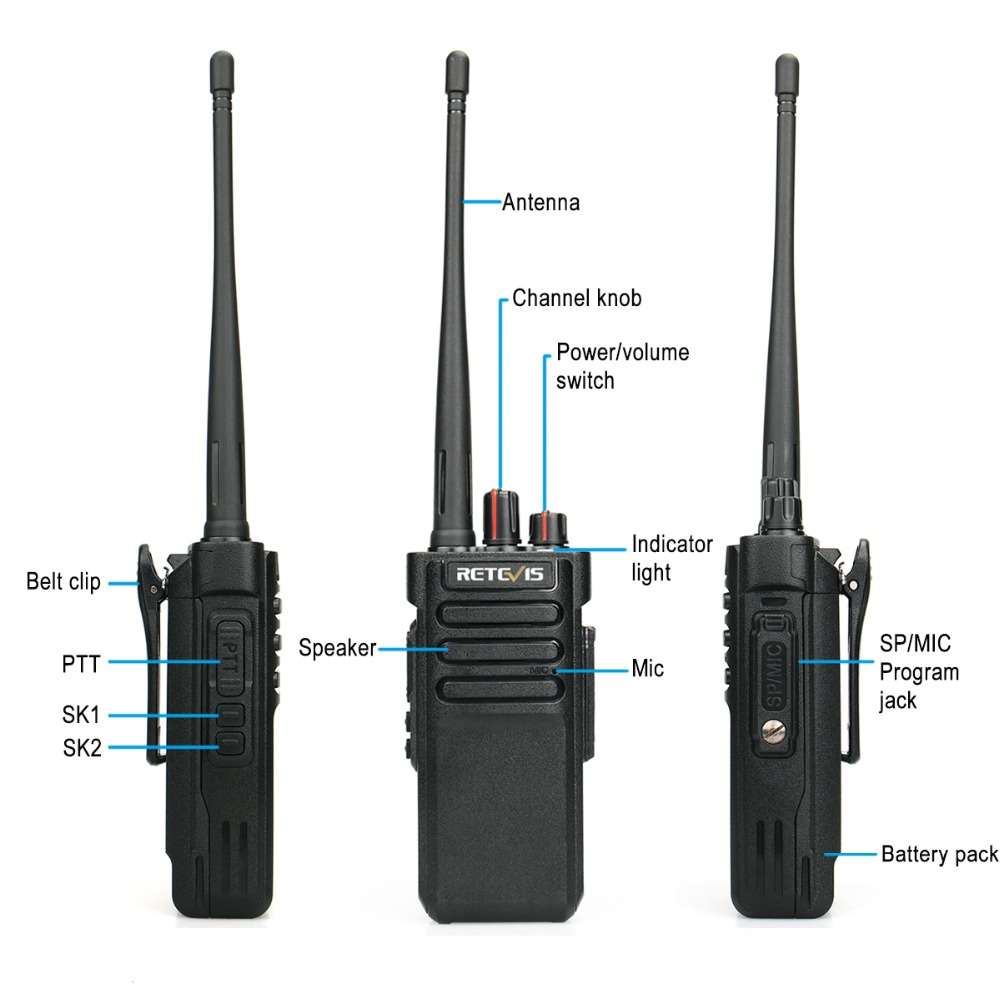 Image 2 - 1PCS IP67 Waterproof Walkie Talkie RETEVIS RT29 UHF (or VHF) VOX Professional Long Range Two Way Radio Transceiver Comunicador-in Walkie Talkie from Cellphones & Telecommunications