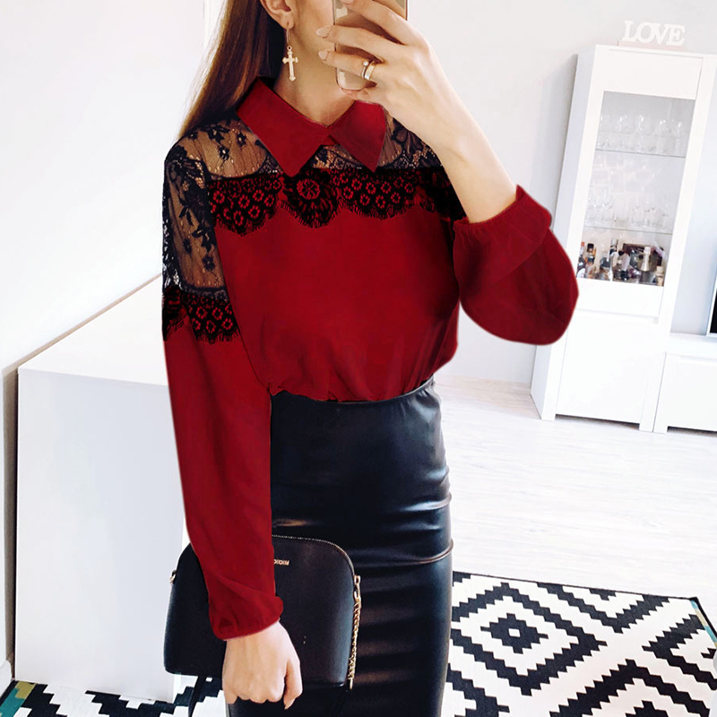 Women Lace Patchwork   Blouses     Shirt   Elegant Office Lady   Shirt   Full Sleeves Blusas Femininas Casual Cute Tops And   Blouses   SJ1780Y