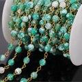 Diy 5 м зеленый агат граненные круглый бусины четки стиль цепи, Медная проволока завернутый цепи ожерелье браслет мода ювелирных изделий