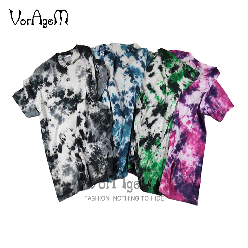 Men's Summer Fashion Handmade Tie Dye T Shirt Hipster Irregular Spots Floral Cotton Tees Men Hip Hop Skateboard Tops Streetwear