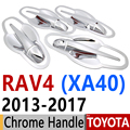 Para Toyota RAV4 2013-2017 Chrome Door Handle Covers Guarnição Set de 4 Porta RAV 4 XA40 Híbrido 2014 2015 2016 Acessórios Do Carro Styling