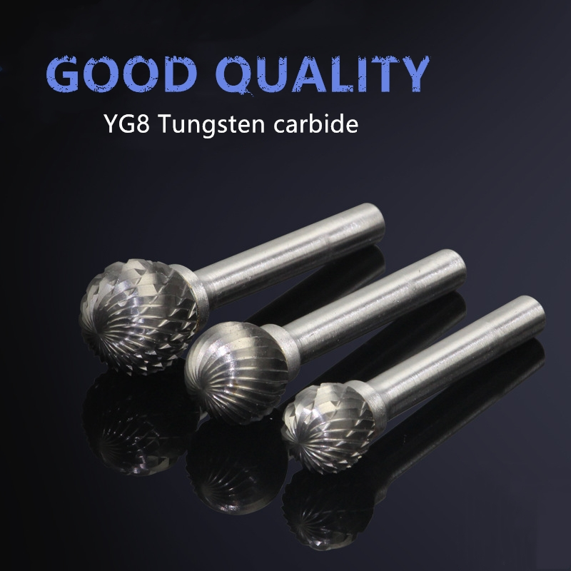 D Type Ball Shape Single Double Cut Carbide Rotary Burr File With 6mm Shank Diameter For Woodworking Polishing Tool