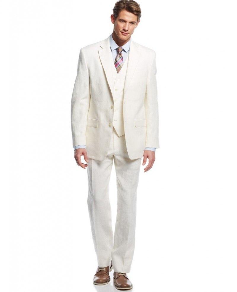 Beige Linen Suit Men Blazer Summer Beach 3 Piece Men Suit For