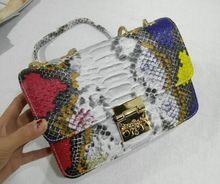 Snake stripe hit the color lock chain shoulder bag, spring and summer new fashion diagonal cross bag