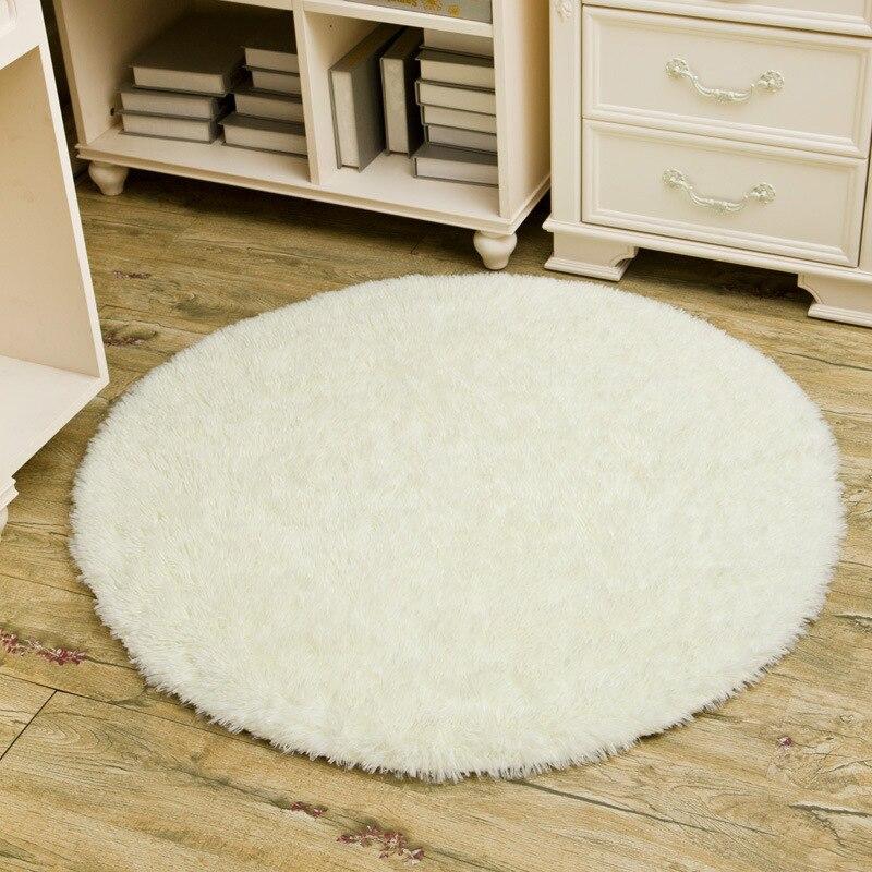 2017 1pcs Home Textile 82cm Fluffy Round Foam Rug Non Slip Shower Bedroom Mat Door Floor Carpet 9 Colors Available