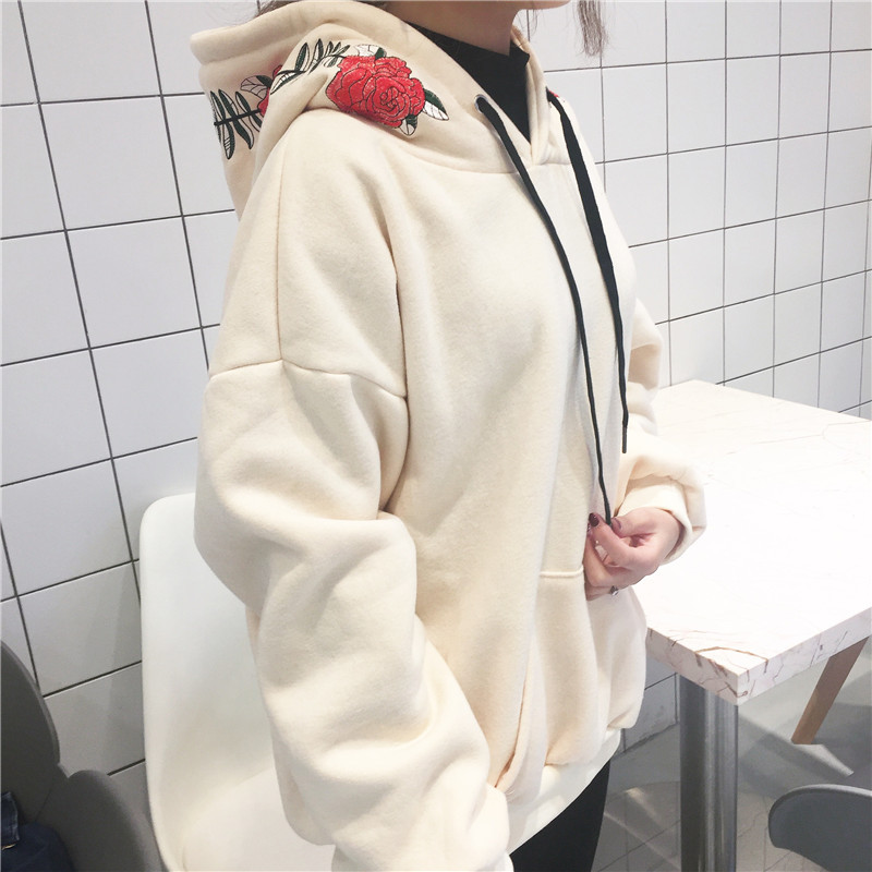Mr nt students fashion new rose hooded printing high end Korean version of the wild college hoodie in Hoodies amp Sweatshirts from Women 39 s Clothing