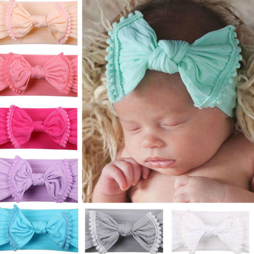 2018 Brand New Lovely Kids Toddler Baby Girls Headband Solid Turban Knotted Headband Hair Band Accessories Bow Tassles   Headwear