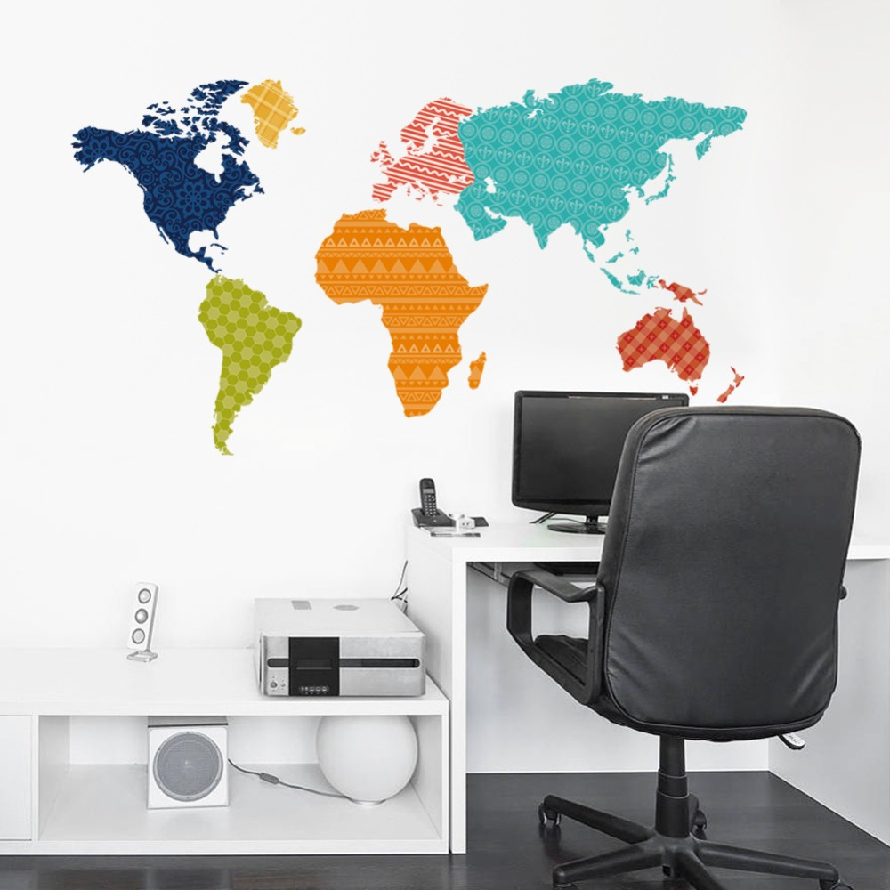 Color online world map - New Color Map Of The World Bedroom Living Room Tv Setting Wall Stickers Diy Waterproof And